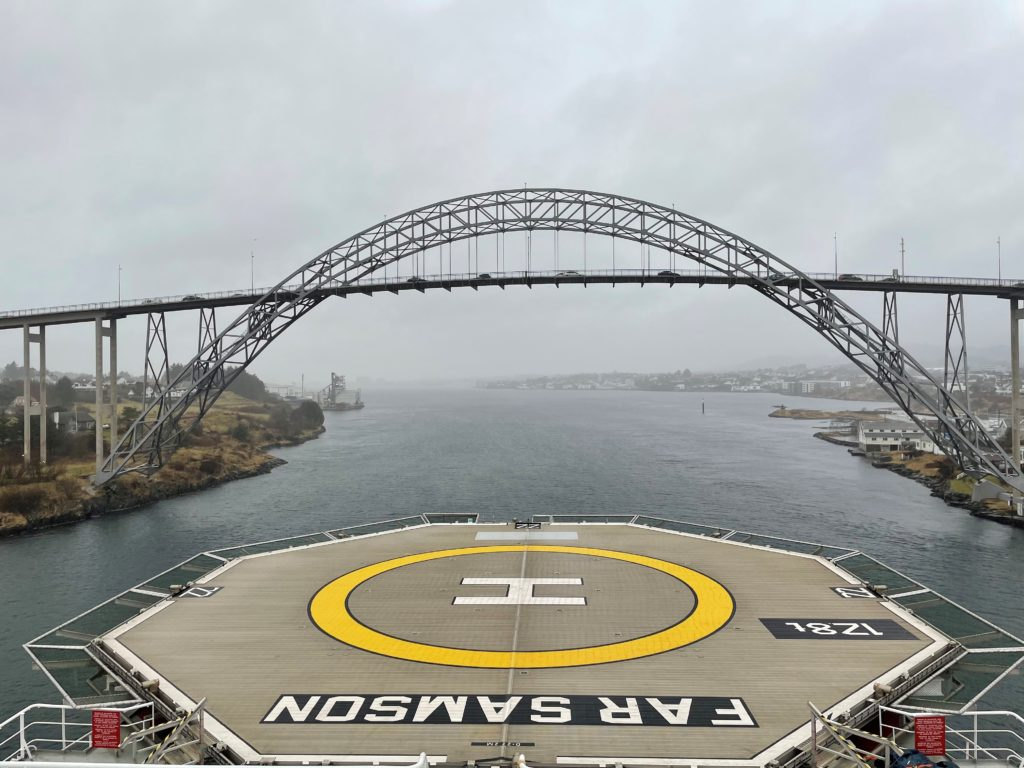 View to a bridge from the deck of Far Samson. Photo: Neptune Energy